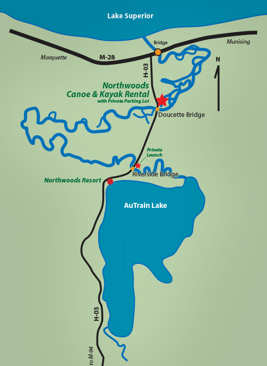 Northwoods Canoe & Kayak Rentals - Au Train, Michigan on st. ignace michigan, large map of michigan, map of upper michigan casinos, map of ishpeming michigan, map of ironwood michigan, baraga michigan, map of michigan cities, houghton michigan, map of upper michigan county, map of u p michigan, map of up, map upper michigan cities, porcupine mountains michigan, map of canada and michigan, lower peninsula of michigan, marquette michigan, map of lake michigan, iron mountain michigan, map of michigan hospitals, map of west virginia,
