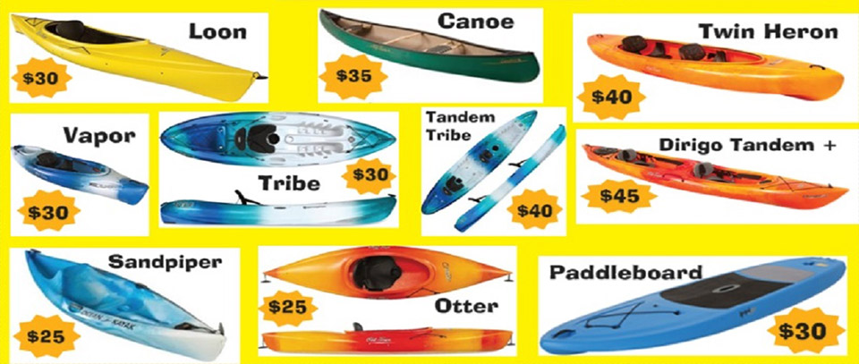 canoe kayaking pricing